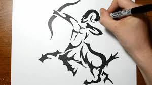 how to draw a tribal centaur sagittarius tattoos youtube