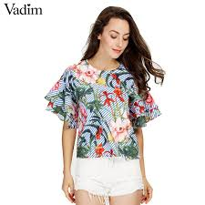 blouse ruffles vadim ruffles floral shirts sleeve o neck