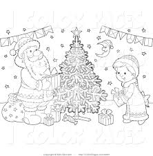 vector coloring page of a black and white coloring page santa