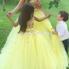 ball gown yellow flower flower girls dresses for wedding 2016 cute