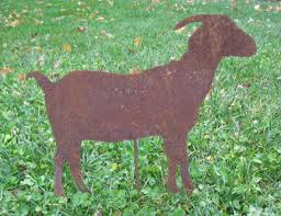 goat garden stake or wall hanging decoration rust garden
