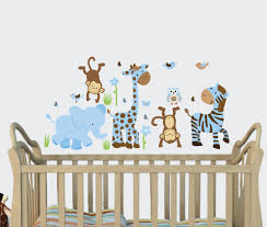 Boy Nursery Wall Decal Boy Blue Baby Boy Wall Decals Jungle Animal