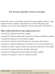 Resume Templates For Engineers Top 8 Mep Engineer Resume Samples 1 638 Jpg Cb U003d1428394533