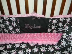 pink skull crib set pirate crib set you by gracemadisondesigns