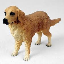 golden retriever hand painted collectible dog figurine