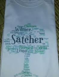 awesomeness tshirt made with family names in the shape of a tree