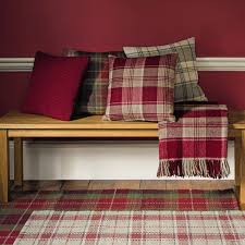 Home Furnishings And Decor by Mulholland Cranberry Check Wool Cushion Laura Ashley Checked