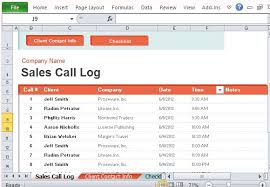 sales call report template sales call log organizer for excel