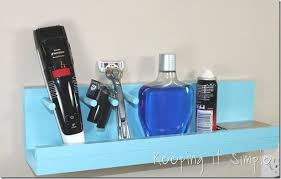 diy bathroom shelf for a razor and beard trimmer bathroom