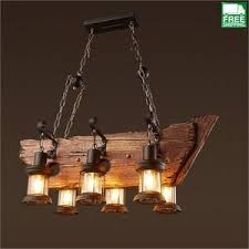wood beam light fixture industrial wood beam six hanging bulb chandelier light free