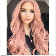 is island medium hair a wig fashion natural wave hair rose gold color smoke pink heat resistant