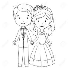 coloring book cartoon groom and bride royalty free cliparts