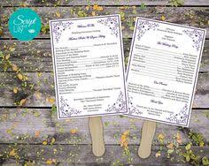 lace wedding program template double sided free color change