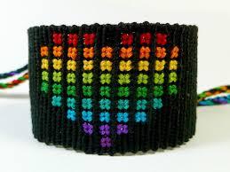 rainbow heart bracelet images Black rainbow heart friendship bracelet by quietmischief jpg