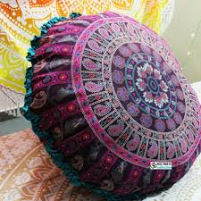 ghoomar round floor pillow turquoise border floor pillows