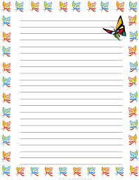 butterflies free printable stationery for kids regular lined
