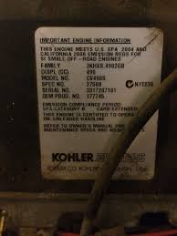 i have a kohler pro 17hp ohv model number cv490s on a