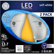 Led Light Bulbs Ge by Ge Lighting 21900 Led11dav3 2pk Light Bulb 10 5w White A19