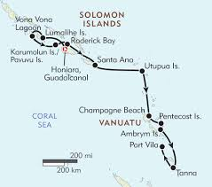 Ana Route Map Guadalcanal To Vanuatu Itinerary U0026 Map Wilderness Travel