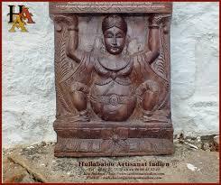 Panneau Bois Teck Divinités Indiennes Sculptées Jn10 Sgh09 Meubles Indiens Déco