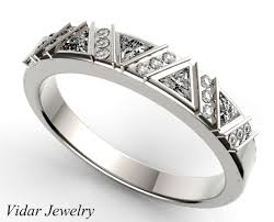 womens wedding ring triangle diamonds womens wedding band vidar jewelry unique