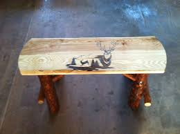Farm Benches - rustic amish made farm bench solid log sassafras great for a