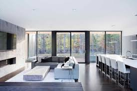 monochromatic living rooms living rooms minimal style open plan living area with concrete