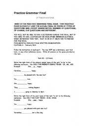 english worksheets final exam for grade 6