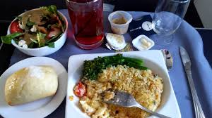 4k uhd united airlines food service lunch first class lobster