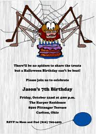 hungry spider halloween birthday invitation