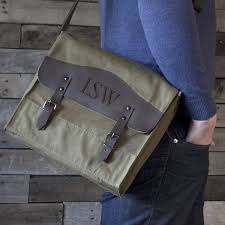 personalized 13 x 11 green canvas u0026 leather messenger bag