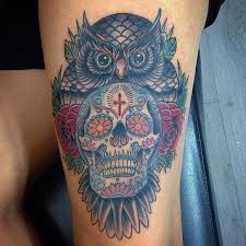 owl with sugar skull and roses tattoo on left thigh