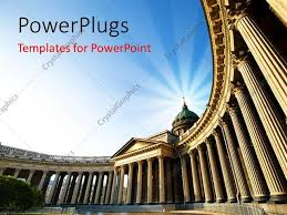 powerpoint template a historical building with a bluish