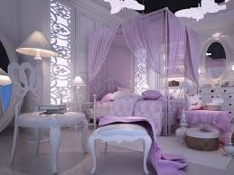 bedroom romantic girls bedroom design with canopy bed and light