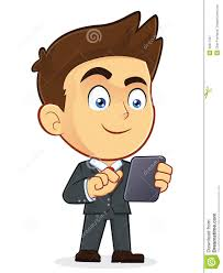 clipart uomo businessman holding tablet pc stock vector illustration of
