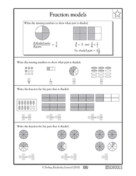 3rd grade 4th grade math worksheets fraction models greatschools