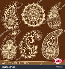 decorative six paisley buta ornament elements stock vector