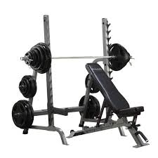 Adjustable Dumbbell Weight Bench Commercial Bench Squat Rack Combo Package Body Solid Sdib370