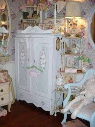 Shabby Chic Furnishings by Vintage Cottage Painted Roses Armoire Chic Furniture Storage