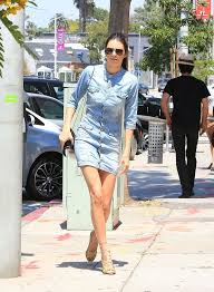 kendall jenner out and about in a denim mini dress in la my face