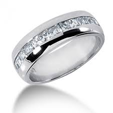 mens wedding rings 1 20 carat mens princess cut 7 mm diamond wedding band in mens