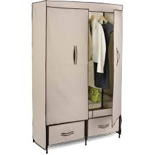 Wardrobe Cabinet With Shelves Honey Can Do Double Door Closet Storage With Two Drawers Beige
