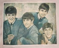 leo jansen vintage circa 1964 beatles lithograph print on canvas after leo