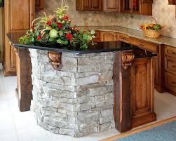 Kitchen Island With Granite Countertop Glittering Stacked Stone Kitchen Island With Black Galaxy Granite