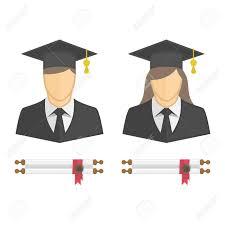 graduation shadow box cap and gown graduates in gown and graduation cap icon illustration of