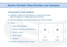 atomic number mass number and isotopes worksheet by good