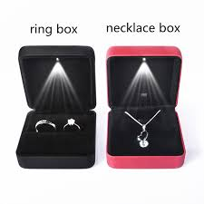 engagement ring boxes that light up new led light case square necklaces rings box wedding engagement