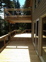 cedar deck and balcony with waterproof membrane for lower exterior