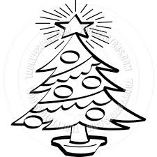 Black And White Christmas Decorations Clipart by Cartoon Christmas Tree Vector Illustration By Clip Art Guy Toon
