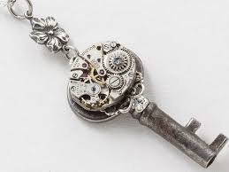 swarovski crystal flower necklace images Victorian skeleton key necklace with silver filigree watch jpg